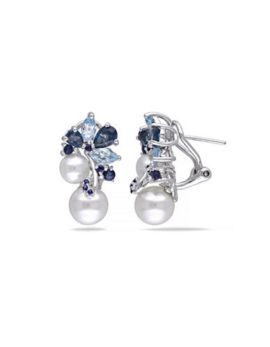 Concerto 8-8.5mm White Round Freshwater Pearls Blue Topaz and Sapphire Sterling Silver Earrings-BLUE-One Size
