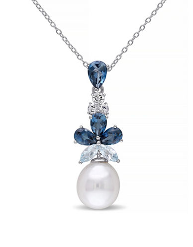 Concerto 9.5-10mm White Rice Freshwater Pearl Blue and White Topaz Sterling Silver Necklace-PEARL-One Size
