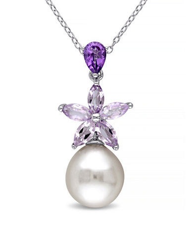 Concerto 9.5-10mm White Rice Pearl Amethyst and Rose de France Sterling Silver Necklace-MULTI-One Size