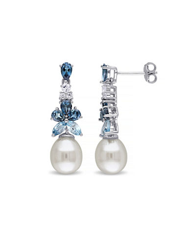 Concerto 8-8.5mm White Rice Freshwater Pearl Blue and White Topaz Dangle Earrings-PEARL-One Size