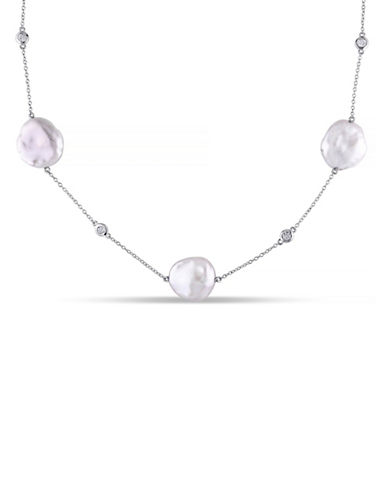 Concerto 16-16.5mm Pink Fancy Keshi Pearl and White Topaz Sterling Silver Necklace-PEARL-One Size