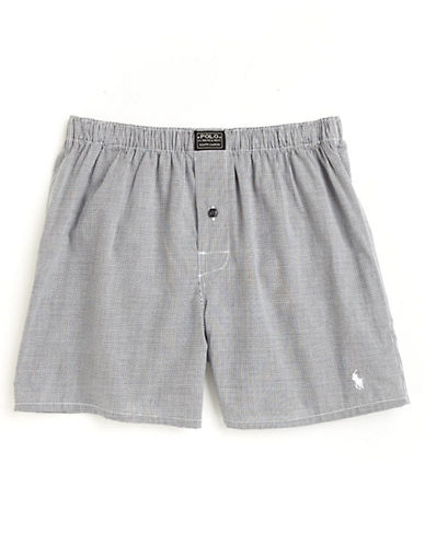 Polo Ralph Lauren Gingham Print Cotton Boxers-GREY-X-Large