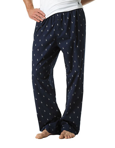Polo Ralph Lauren Woven Sleepwear Pant-NAVY/CREAM-Large