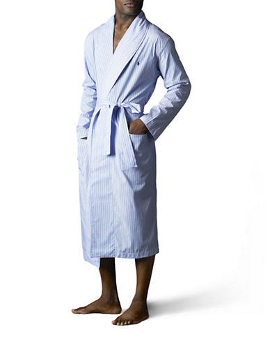 Polo Ralph Lauren Woven Sleepwear Robe-BLUE-Large/X-Large