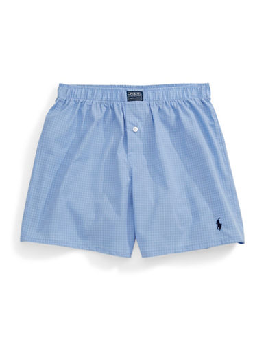 Polo Ralph Lauren Windowpane Check Cotton Boxers-BLUE-Small