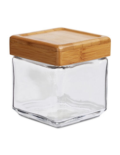 Anchor Hocking 1qt Stackable Jar with Bamboo Lid-BROWN-One Size