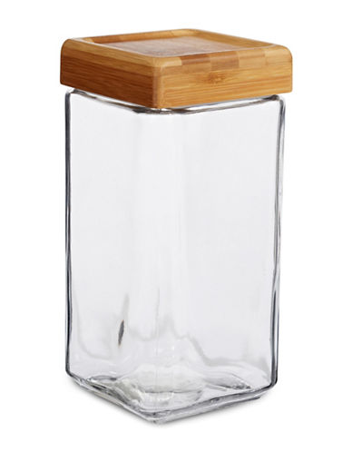 Anchor Hocking 2qt Stackable Jar with Bamboo Lid-BROWN-One Size