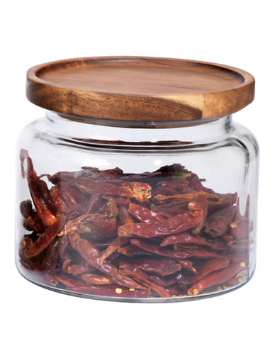 Anchor Hocking 48oz Stackable Jar with Wood Lid-CLEAR-One Size