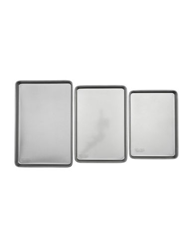 Emeril Lagasse 3-Pack Cookie Sheets-GREY-One Size