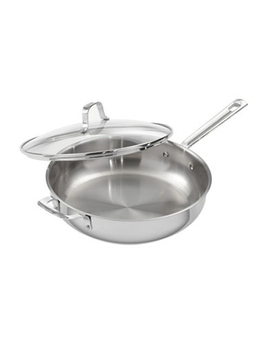 Emeril Stainless Steel Cookware Covered Deep Saute Pan 5-Quart-STAINLESS STEEL-5