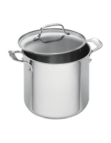 Emeril Stainless Steel Cookware Covered Stock Pot 8-Quart-STAINLESS STEEL-8