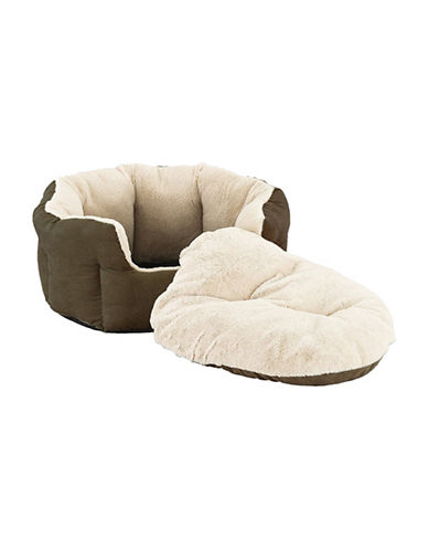Sleep Zone Small Pet Faux Suede Reversible Dog Bed-CHOCOLATE-One Size
