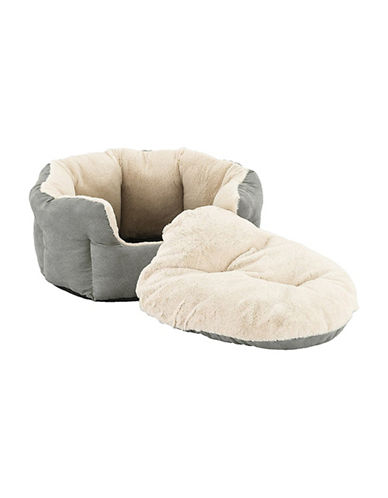 Sleep Zone Small Pet Faux Suede Reversible Dog Bed-LIGHT GREY-One Size