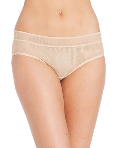 Dkny Stretch Lace Bikini Briefs-BEIGE-Small