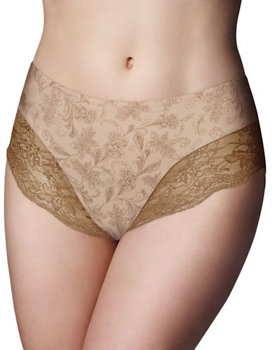 Wonderbra Printed Light Control Briefs-TAUPE-Medium