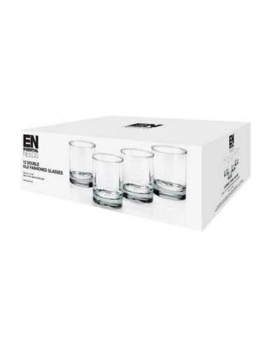 Essential Needs 12-Piece Double Old Fashioned Glass Set-CLEAR-One Size