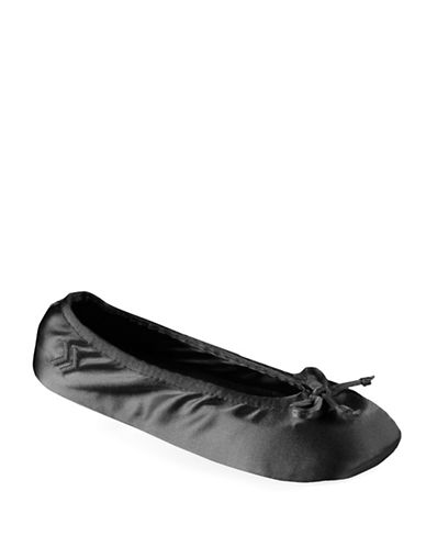 Isotoner Satin Ballerina Slippers-BLACK-Large