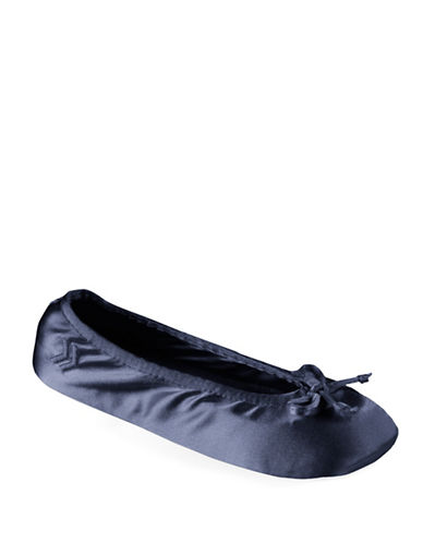 Isotoner Satin Ballerina Slippers-NAVY-Medium