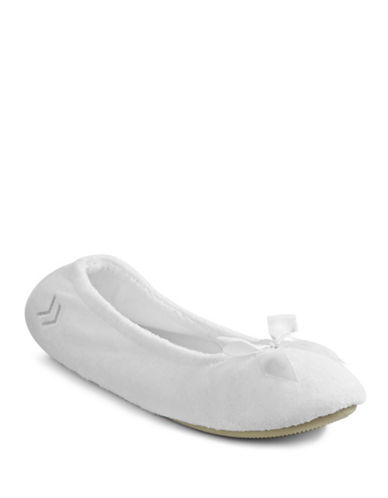 Isotoner Stretch Terry Ballerina Slippers-WHITE-Medium