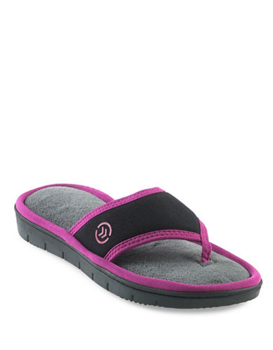 Isotoner Cassandra Thong Slippers-BLACK-Large
