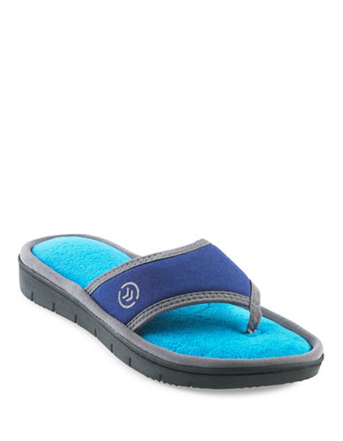 Isotoner Cassandra Thong Slippers-BLUE-Medium