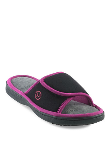 Isotoner Cassandra Matte Satin Slide Slippers-BLACK-Large
