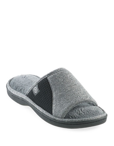 Isotoner Gina Heathered Jersey Sport Slide Slippers-GREY-Large