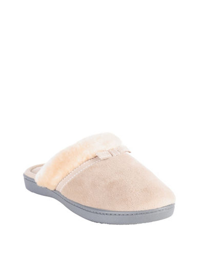 Isotoner Microterry Clog Faux Fur Slippers-BEIGE-Medium