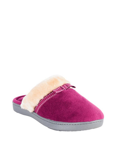 Isotoner Microterry Clog Faux Fur Slippers-PINK-Large