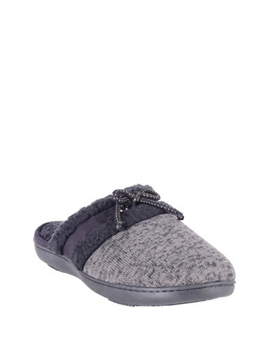 Isotoner Marled Knit Clog Slippers-GREY-Medium