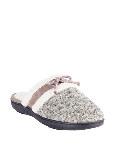 Isotoner Marled Knit Clog Slippers-BEIGE-Small