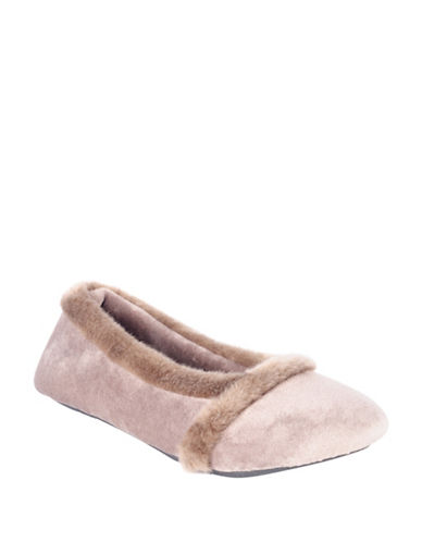 Isotoner Faux Fur-Trimmed Ballet Flats-TAUPE-Small