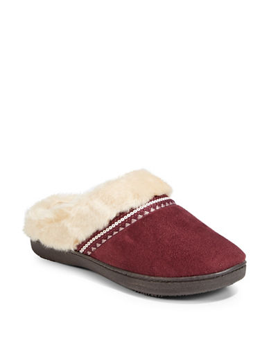 Isotoner Faux Fur Microsuede Slippers-BROWN-Small