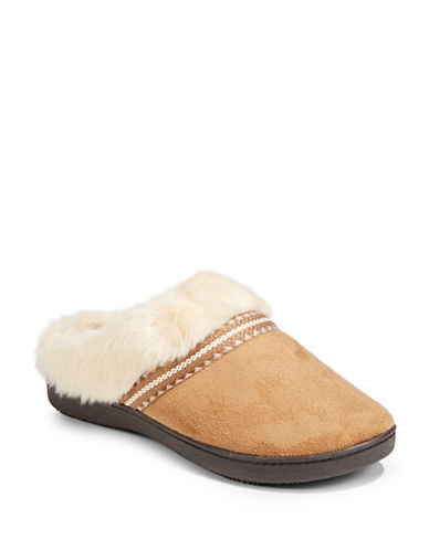 Isotoner Faux Fur Microsuede Slippers-BEIGE-Medium