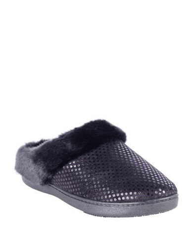 Isotoner Faux Fur Collar Clog Slippers-BLACK-Small