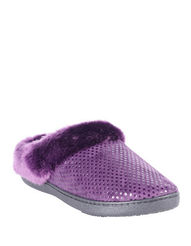 Isotoner Faux Fur Collar Clog Slippers-PURPLE-Large