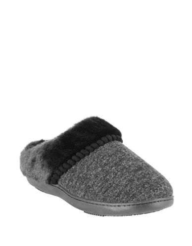 Isotoner Faux Fur-Trimmed Hoodback Slippers-BLACK-Large