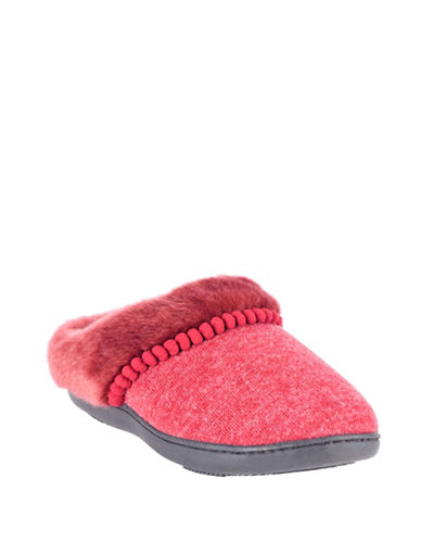 Isotoner Faux Fur-Trimmed Hoodback Slippers-RED-Large