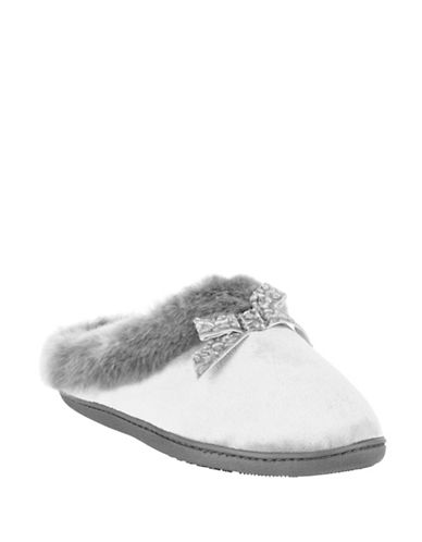 Isotoner Faux Fur-Trimmed Velvet Bow Hoodback Slippers-GREY-X-Large