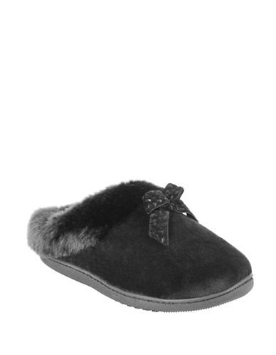 Isotoner Faux Fur-Trimmed Velvet Bow Hoodback Slippers-BLACK-X-Large