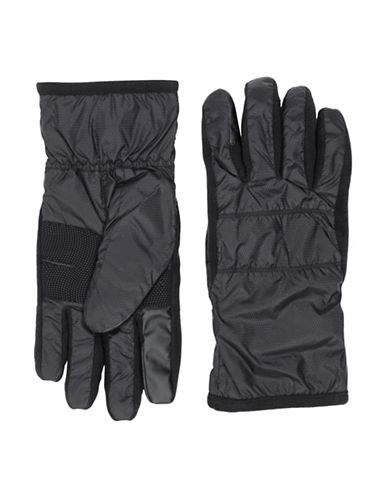 Isotoner SmarTouch Horizontal Detailed Gloves-BLACK-Large/X-Large