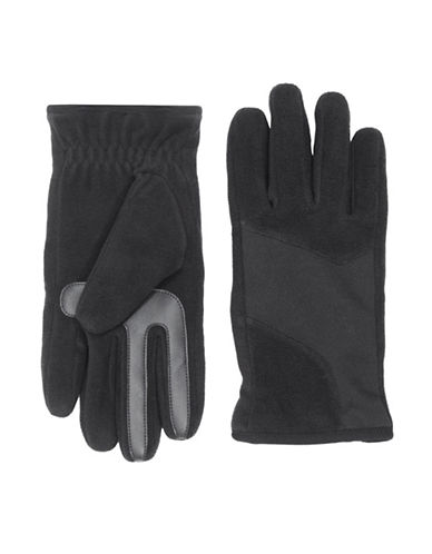 Isotoner SmarTouch Modern Shape Fleece Stretch Tech Gloves-BLACK-Large