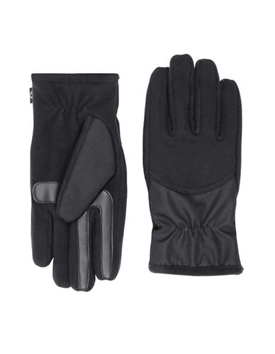 Isotoner SmarTouch Stretch Matrix Cuff Tech Gloves-BLACK-Large