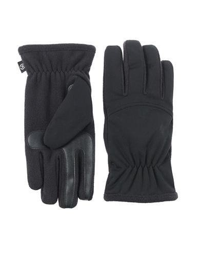 Isotoner SmarTouch Interlock Fleece Gloves-BLACK-Medium