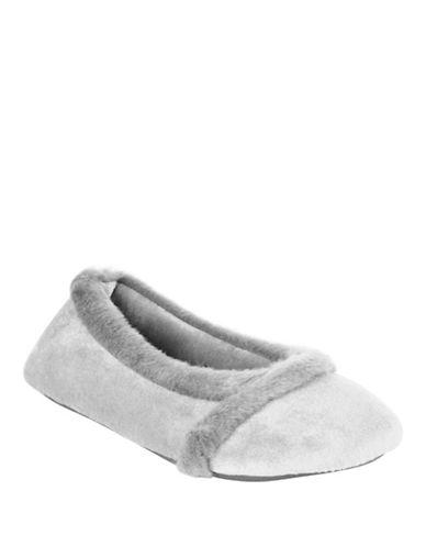 Isotoner Faux Fur-Trimmed Ballet Flats-ASH-Medium