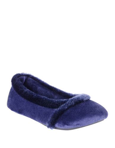 Isotoner Faux Fur-Trimmed Ballet Flats-NAVY BLUE-Small