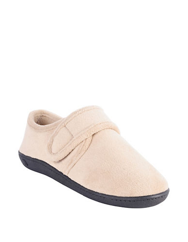 Isotoner Microterry Espadrille Slippers with Grip-Tape Strap-BEIGE-Medium