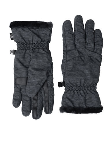 Isotoner Packable Touchscreen Gloves-HEATHER BLACK-Large