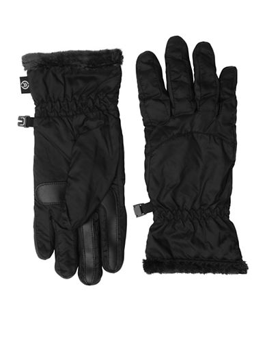 Isotoner Packable Touchscreen Gloves-BLACK-Small