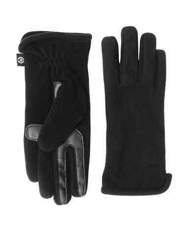 Isotoner Soft Fleece Touchscreen Gloves-BLACK1-One Size